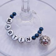 Football Personalised Wine Glass Charm